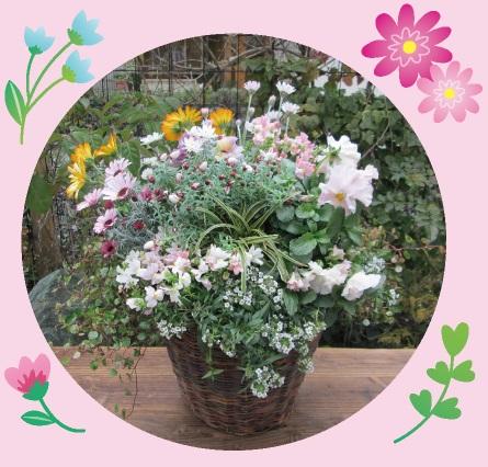 プランツアレンジメント作品例(写真はイメージです。季節が変わるため、植物は変更になる場合がございます。)