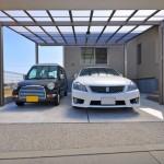 カーポート:アーキデュオワイドで駐車場内部はスッキリと