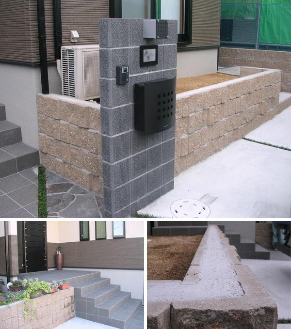 階段に手すりと、ブロックにフェンスと笠木を – Y様邸の施工前
