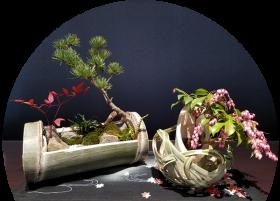 竹細工作品例(写真はイメージです。植物の種類は市場状況により決まります)