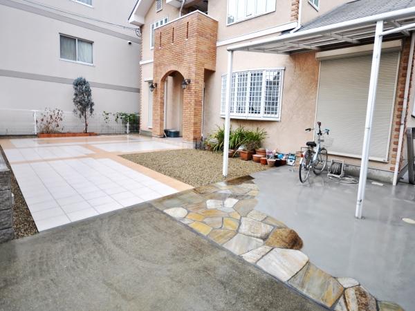 広いタイルテラスがあるお庭  ― 大阪府大阪市K様邸