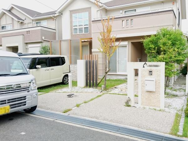メンテナンスフリーなアプローチ、車庫廻り - 大阪府箕面市K様邸の施工前