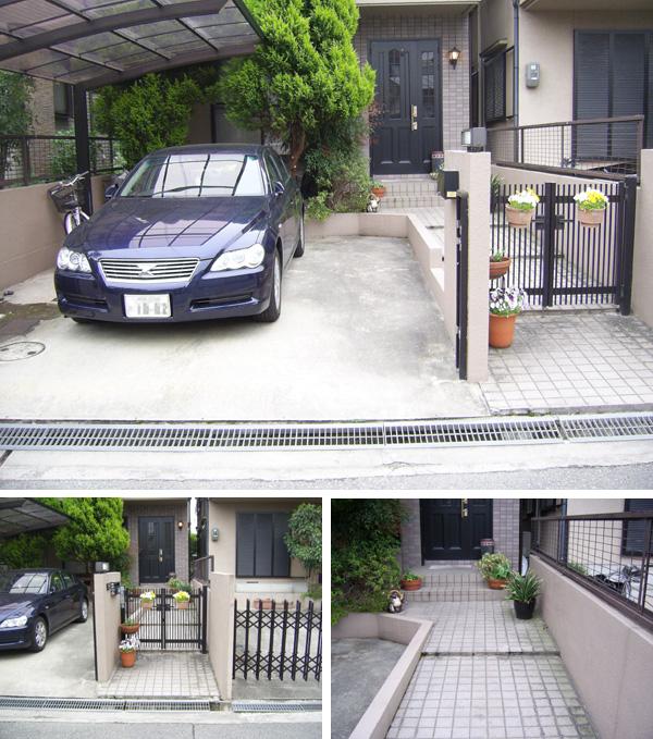 2台駐車できる明るいアプローチにリフォーム – 大阪府豊中市 K様邸の施工前