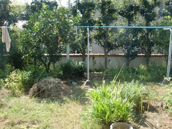 照り返しの少ない家庭菜園のあるお庭~豊中市 O様邸の施工前