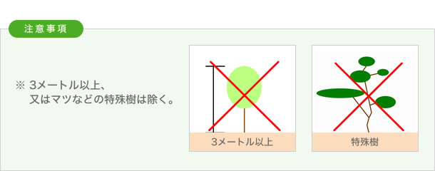 注意事項 3メートル以上、又はマツなどの特殊樹は除く。
