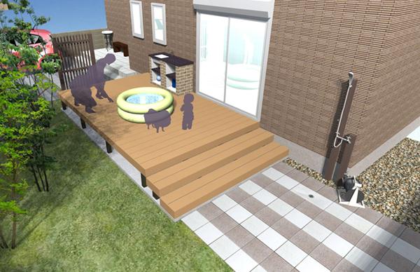 お子様たちの遊びのスペースとして リビングとお庭をつなぐ空間として…