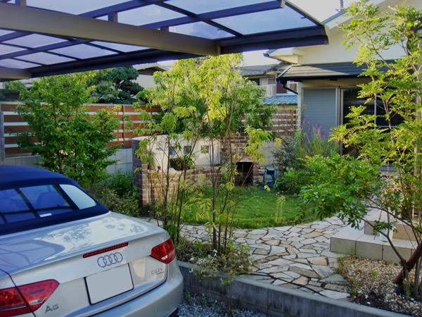 タイルテラスとデッキのあるお庭 - 大阪府吹田市T様邸の施工前