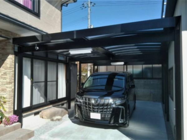 施工後:和風庭園を広々カーガレージに変身